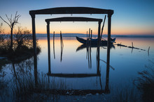 Wooden Boat And Porches At Dawn
