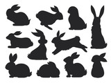 Fototapeta Fototapety na ścianę do pokoju dziecięcego - Bunny pet silhouette in different poses. Hare and rabbit collection. Vector set of cute rabbits in cartoon style.