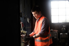 Young Worker In A Concrete Fac...