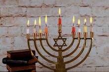 Happy Hanukkah Of Jewish Holiday Hanukkah With Menorah