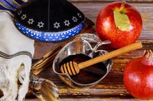 Apple And Honey, Kosher Traditional Food Of Jewish New Year Rosh Hashana