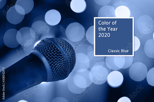 Microphone on stage with bokeh lights. - 308542878