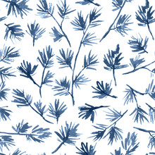 Watercolor Christmas And New Year Seamless Pattern With Spruce Twigs In Monochrome Blue