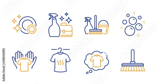 T-shirt, Household service and Hold t-shirt line icons set Canvas Print