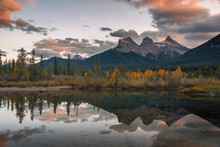 Sunset Over Three Sisters In A...