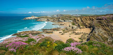 Spectacular Clifftop Coastal Scenery At Newquay In West Cornwall