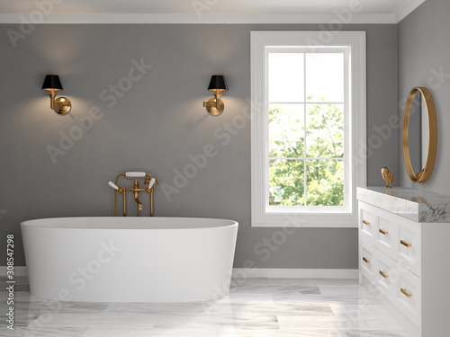 Fototapety, obrazy: Interior bathroom classic style 3D rendering