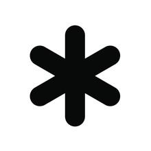 Asterisk Icon, Black On White ...