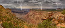 Grand Canyon From The Desert View Trail A Mile East Of The Historic Watch Tower With A Lightning Storm Rolling Into The Area, Grand Canyon National Park, Arizona