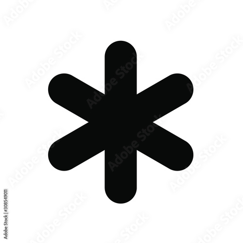 asterisk icon, black on white background, vector image. Canvas Print