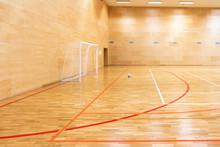 Gates For Mini Football. Hall For Handball In Modern Sport Court