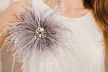 Gray Ostrich Feather Brooch Wi...