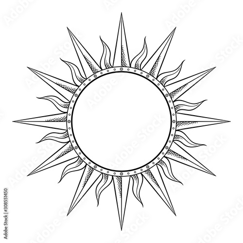 Obraz Hand drawn etching style frame in a shape of sun rays vector illustration - fototapety do salonu