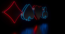 4 Aces Playing Cards Symbols With Futuristic Glowing Neon Lights Isolated On The Black Background - 3D Illustration