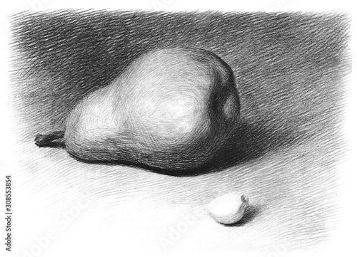 Valokuva Children 's educational drawing of pears and garlic slices