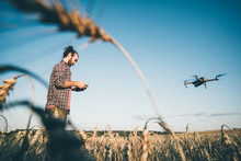 Farmer Navigating Drone Above ...