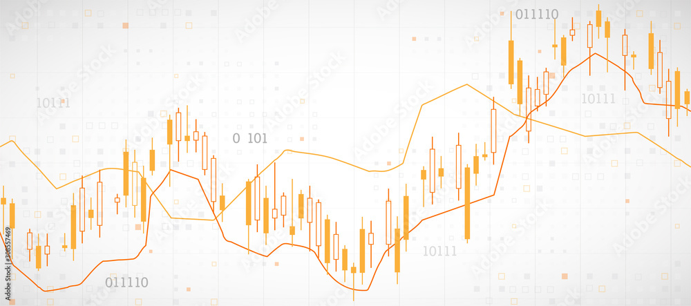 Fototapeta Financial trade concept. Stock market and exchange. Candle stick graph chart.