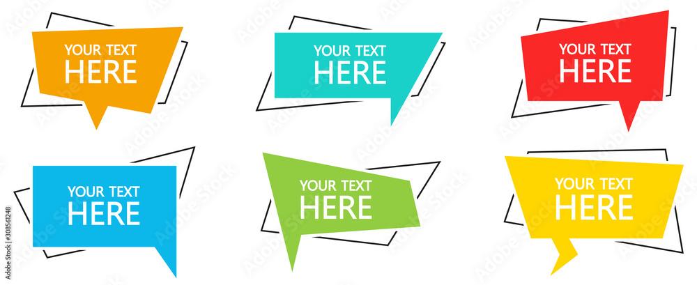 Fototapeta Geometric banner with text set. Vector