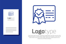 Blue Certificate Template Line Icon Isolated On White Background. Achievement, Award, Degree, Grant, Diploma. Business Success Certificate. Logo Design Template Element. Vector Illustration