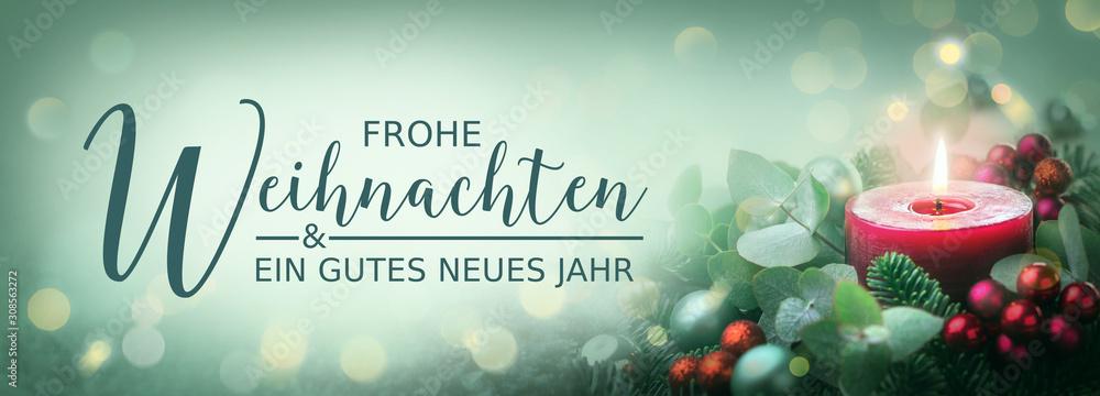Weihnachtskarte - Grußkarte -  Frohe Weihnachten und ein gutes neues Jahr - Header, Banner, Panorama  -  Dekoration mit festlich geschmückter Kerze
