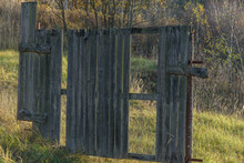 Old Wooden Broken Fence In The...