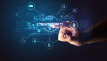 Hand Touching CYBERSECURITY In...