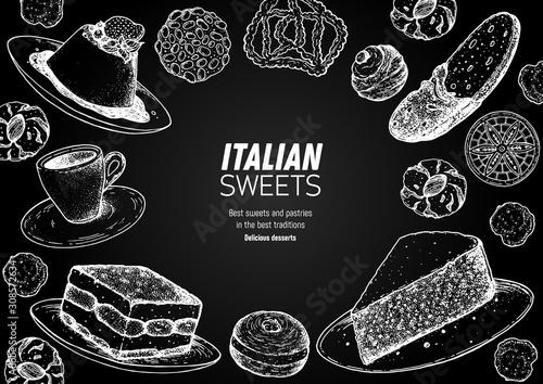 Fototapeta Italian dessert vector illustration. Italian sweet hand drawn sketch. Baking collection. Vintage design template. Panna cotta, tiramisu, bombolone, torta caprese, biscotti, pizzelle illustration. obraz