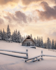 Panel Szklany Góry Fantastic winter landscape with wooden house in snowy mountains. Christmas holiday concept. Carpathians mountain, Ukraine, Europe