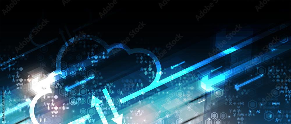 Fototapeta Cloud technology. Integrated digital web concept background