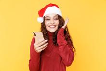 Happy Santa Girl With Mobile I...