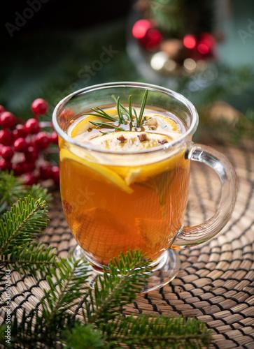 Obraz herbata zimowa na święta boże narodzenie - fototapety do salonu