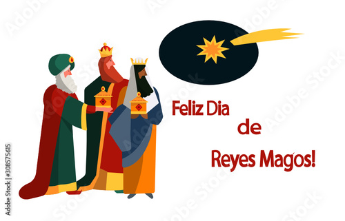 Canvas Cute flat illustration of traditional Spanish celebration Dia de Reyes Magos