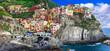 Leinwandbild Motiv Colorful village Manarola in famous Cinque terre in Liguria, travel and landmarks of Liguria