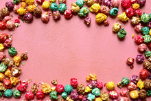 Colorful Caramel Candy Popcorn. Top View With Copy Space.