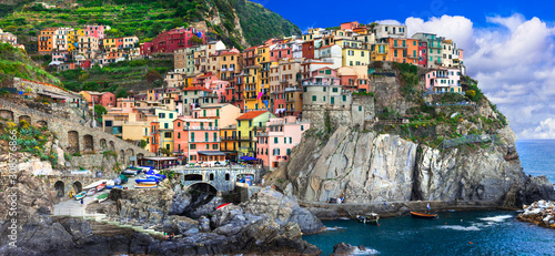 Colorful village Manarola in famous Cinque terre in Liguria, travel and landmark Canvas Print