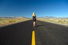 Attractive Blond Woman Walking...