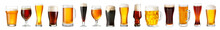 Glassware With Fresh Beer On White Background