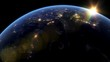 Beautiful Sunset over Asia. City Lights at Night. Planet Earth from Space. View from Space Satellite. 4k 3d Rendering. Images from NASA.