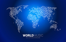 Vector World Map From Music Me...