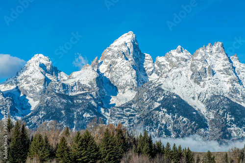 Snow Covered Mountain Peaks, forest trees