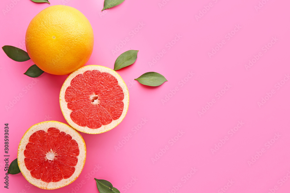 Fotografie, Obraz Fresh grapefruits on color background