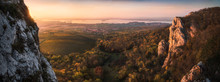 Colorful Autumn Sunset Over Vineyards And Forest As Seen From Rocky Hill In Palava Protected Area Near Mikulov In South Moravia, Czech Republic