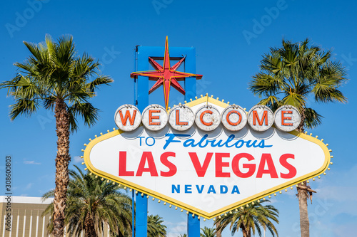 The famous Welcome To Las Vegas sign at the entrance to Las Vegas, Nevada Wallpaper Mural