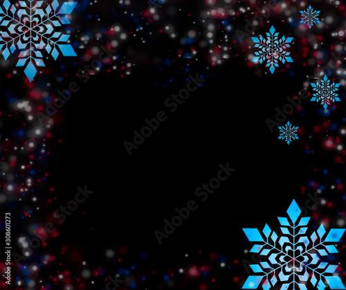 Fototapeta christmas background with stars and snowflakes obraz na płótnie