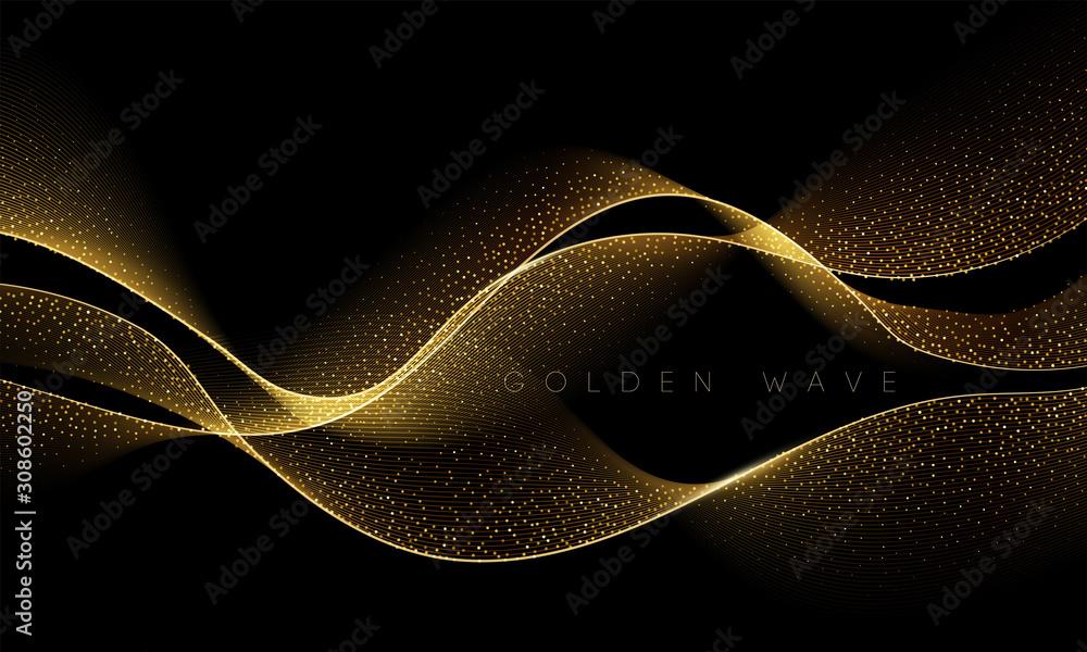 Fototapeta Abstract shiny color gold wave design element