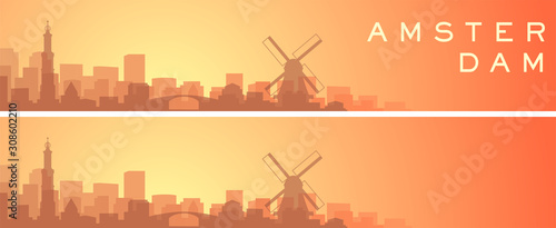 Obraz Amsterdam Beautiful Skyline Scenery Banner - fototapety do salonu