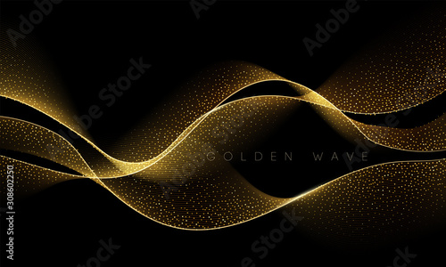 Obraz Abstract shiny color gold wave design element - fototapety do salonu