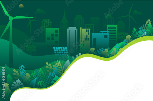 Green ecology and environment with nature concept landing page background template.
