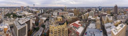 Photo Aerial view of San Antonio downtown skyline including Tower Life Building and Tower of the Americas panorama, San Antonio, Texas, TX, USA