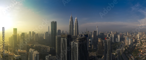 kuala lumpur buildings with dramatic sunrise aerial panorama shot Canvas Print